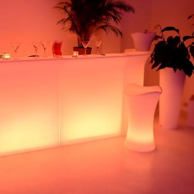 Taburete de bar multicolor con luz LED