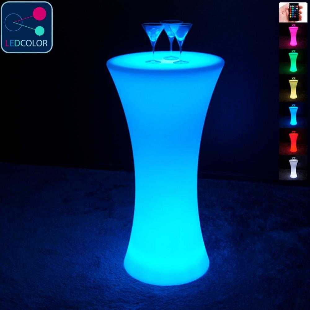 Mesa de pie con iluminación LED multicolor - REDONDA