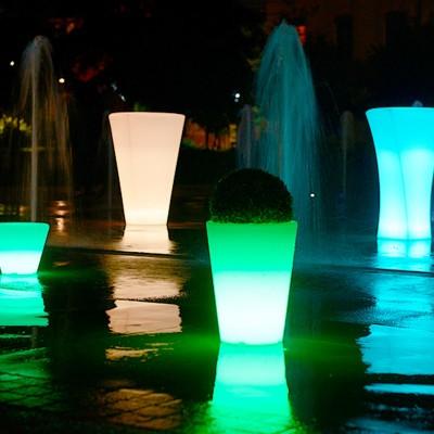 Maceta de luz LED multicolor - REDONDA L