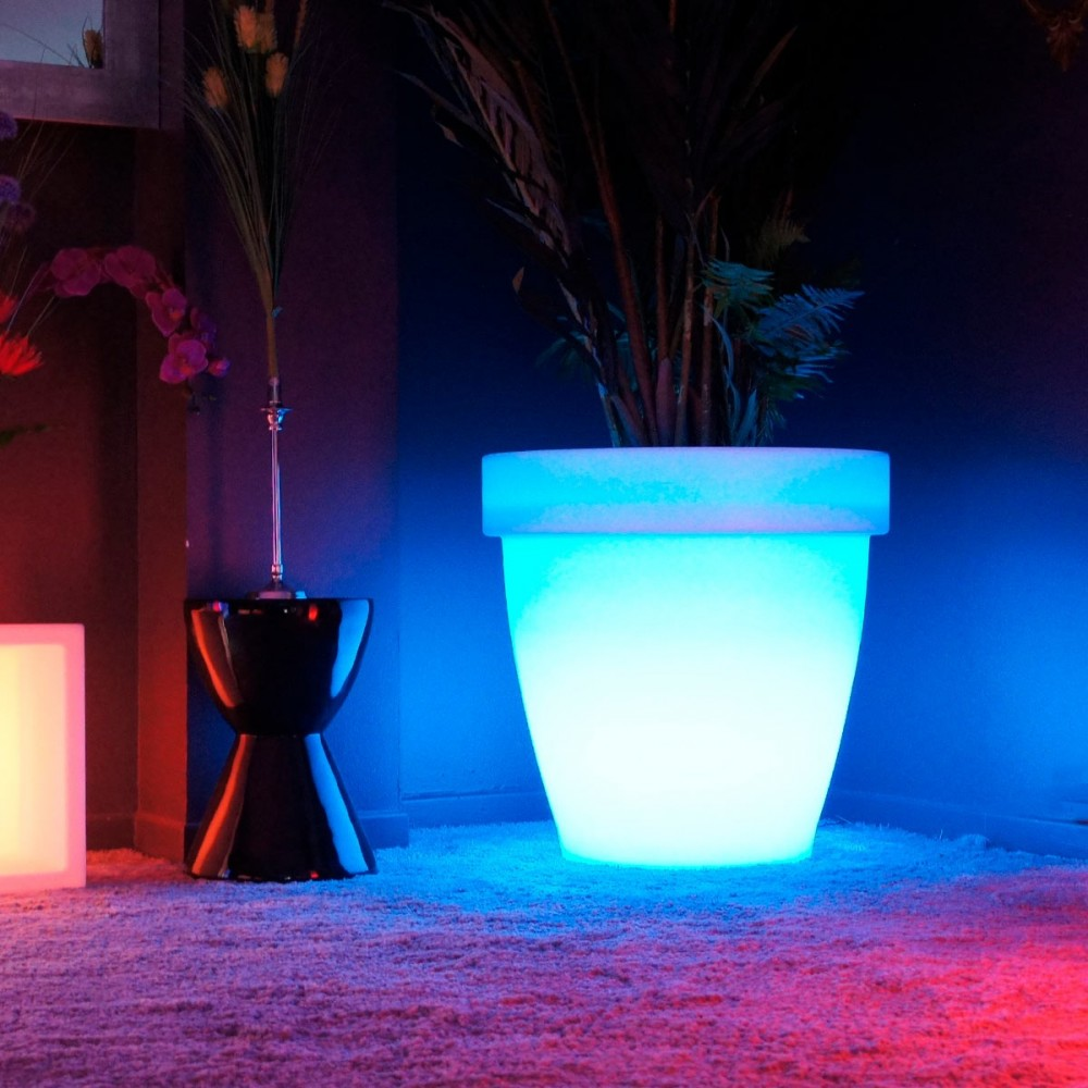Maceta de luz LED multicolor - REDONDA XXL