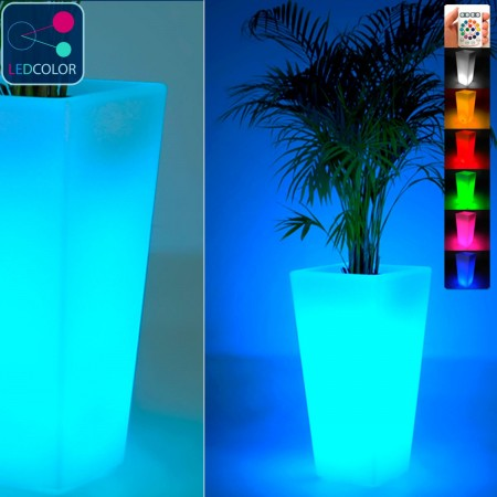 Jarrón con luz LED multicolor - CUADRADO