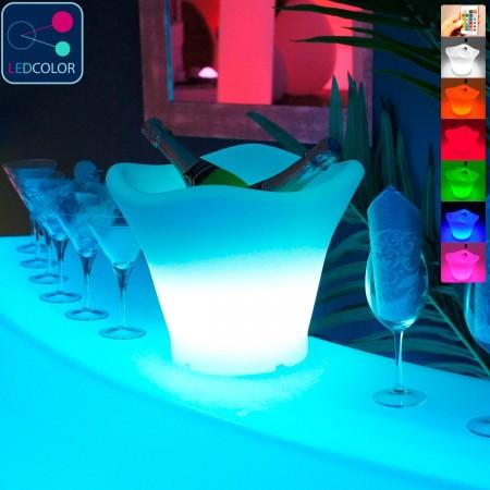 Cubo de champán con iluminación LED multicolor