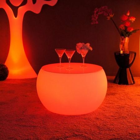 Mesa de centro iluminada por LED multicolor - REDONDA