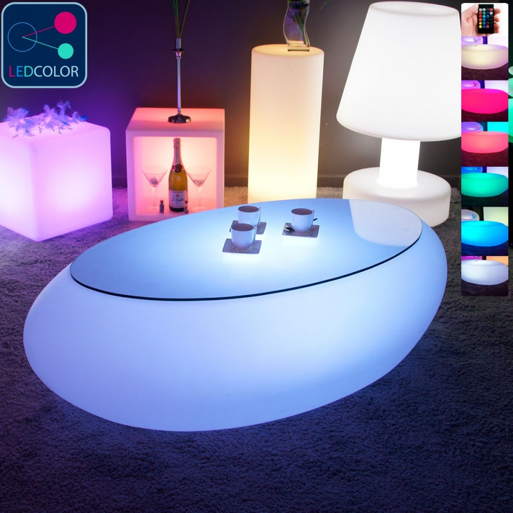 Table Basse Multicolore Led Stone Lumineuse À OPXuZik