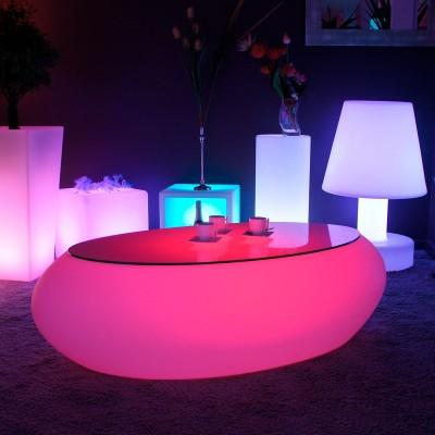 Mesa de centro iluminada por LED multicolor - STONE