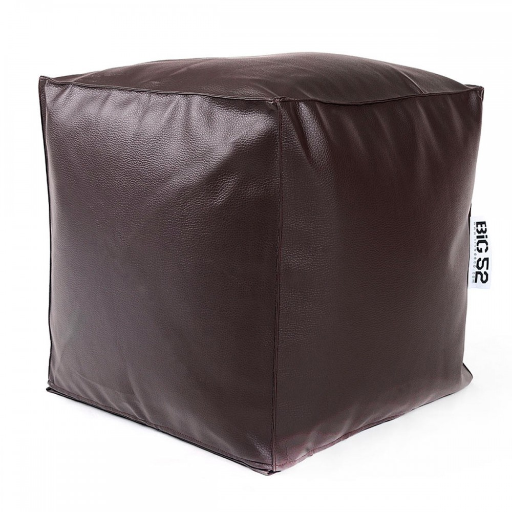Pouf Cube BiG52 - Simili Cuir Chocolat