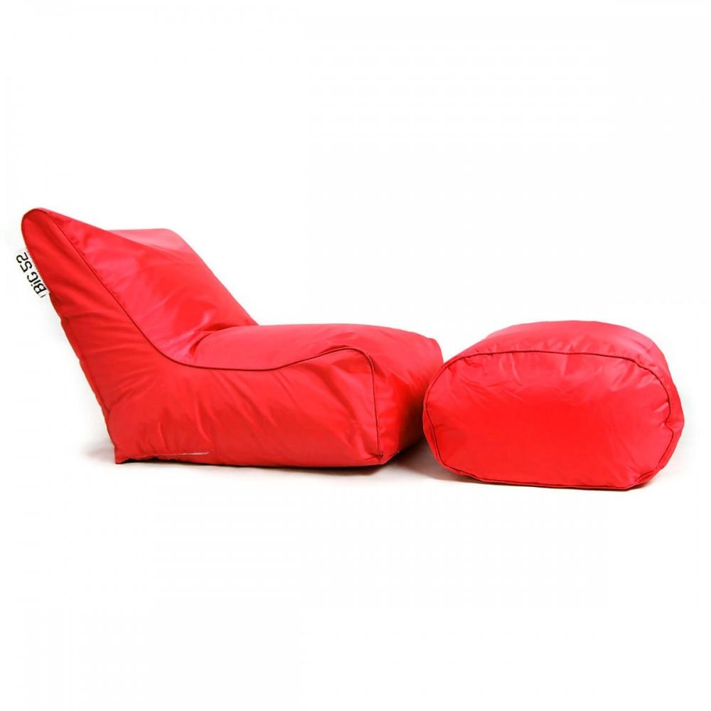 Roter BiG52 Hockersessel mit Fußstütze
