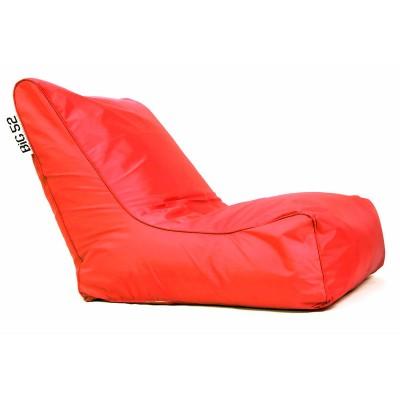 Fauteuil pouf BiG52 rouge avec repose pieds