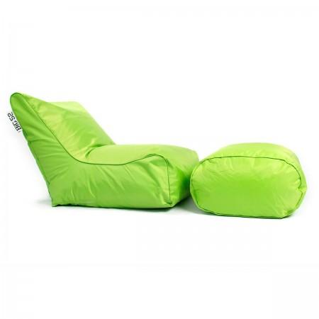 Sillón puf BiG52 verde con reposapiés