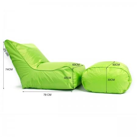 BiG52 grüner Hockersessel mit Fußstütze
