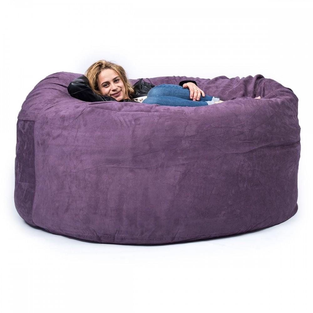 le pouf microsuede violet TiTAN est déhoussable