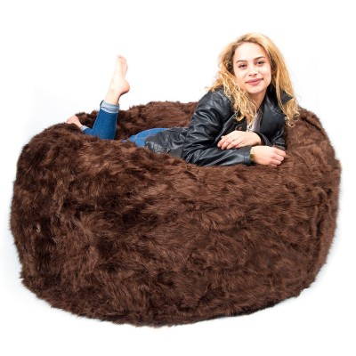 Pouf Géant XXXL BiG52 TiTAN - Fourrure Marron
