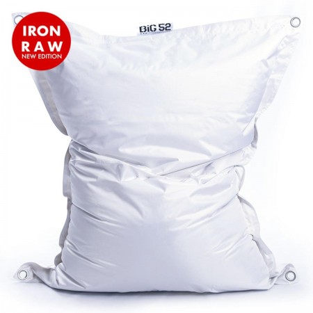 Riesige Hockerhülle BiG52 IRON RAW White