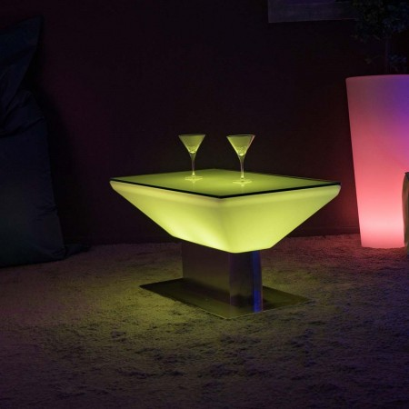 Mesa de centro iluminada por LED multicolor - Cuadrada de acero