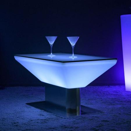 Tavolino da caffè illuminato a LED multicolore - Quadrato in acciaio