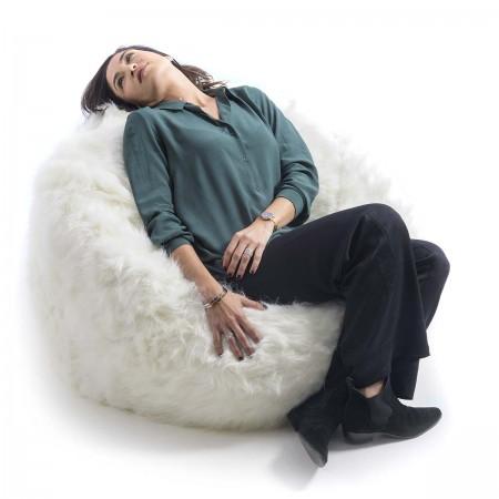 Pouf poltrona rotondo in pelliccia bianca - BiG52 TiTAN S