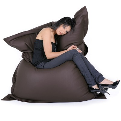 Pouf Géant Simili Cuir Marron BiG52