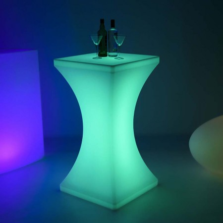 Tavolo alto luminoso LED multicolore - SQUARE