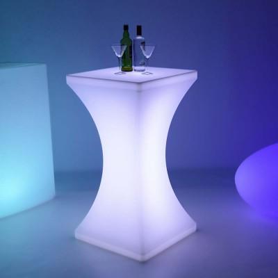 Mehrfarbiger LED-beleuchteter Stehtisch - SQUARE