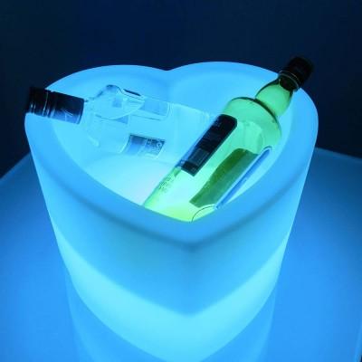 Cubo de champán de corazón luminoso LED multicolor
