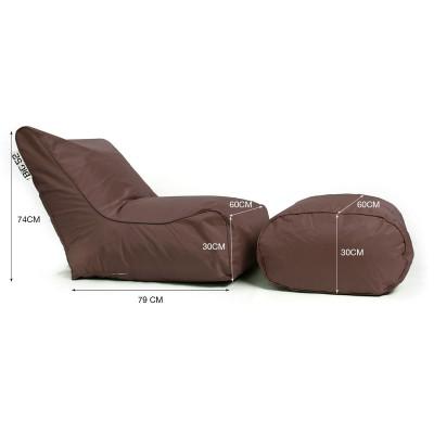 Funda de sillón puf BiG52 chocolate con reposapiés