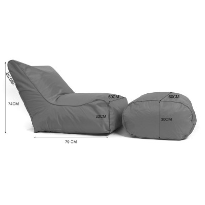 Funda sillón puf BiG52 Graphite con reposapiés