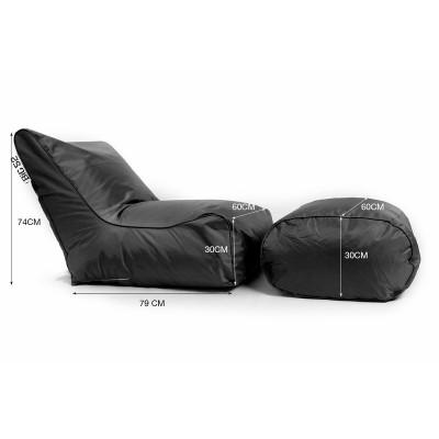 Funda sillón puf BiG52 negro con reposapiés