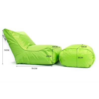 Housse Fauteuil pouf BiG52 vert avec repose pieds