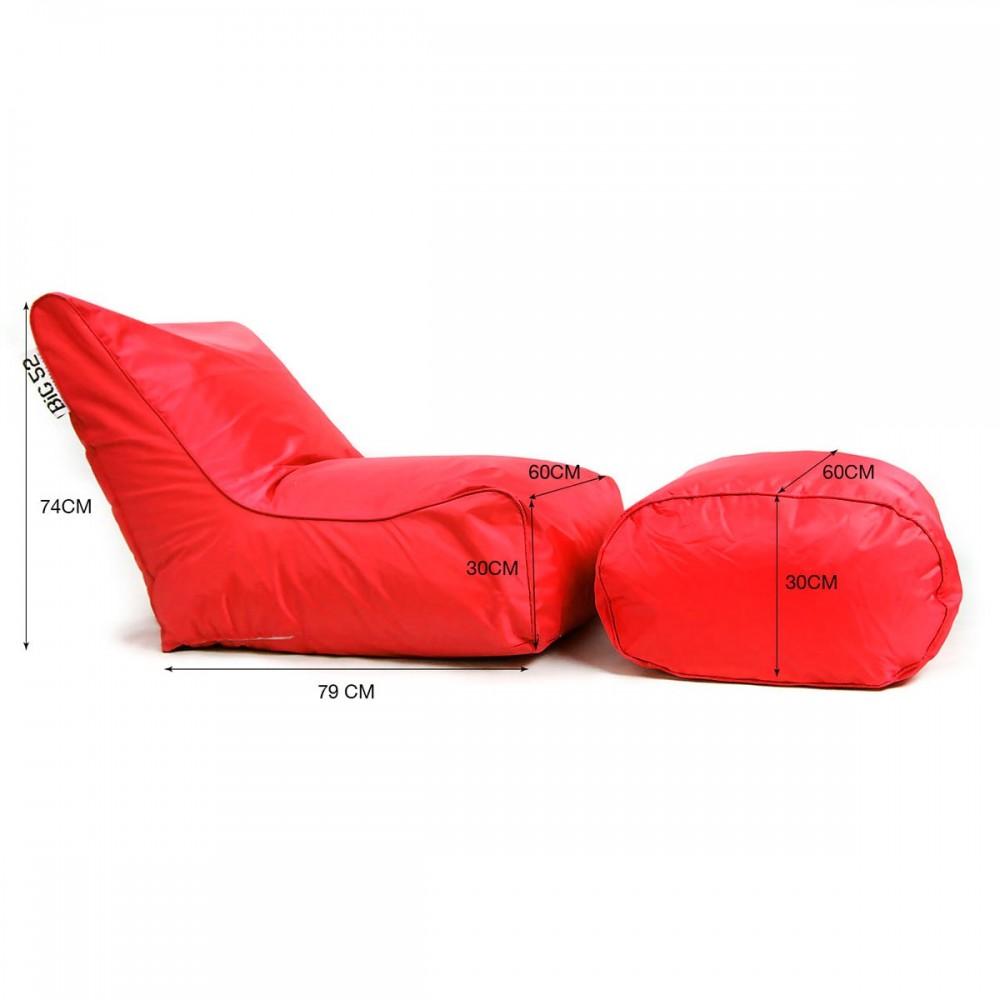 Housse Fauteuil pouf BiG52 rouge avec repose pieds
