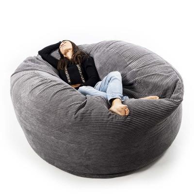 Giant Round Pouffe XXXL Grauer Samt TiTAN