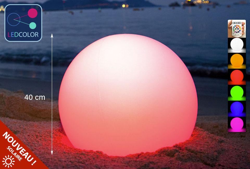 Boule lumineuse solaire led multicolore sans fil 40 cm 60 for Piscine de boule