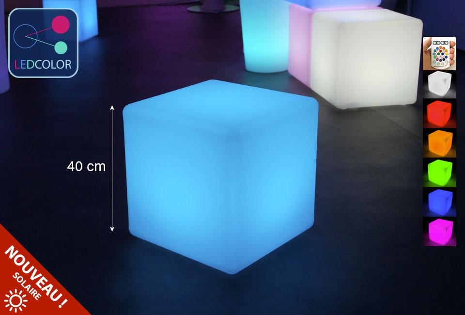 cube lumineux solaire multicolore sans fil cube led 40 cm 60. Black Bedroom Furniture Sets. Home Design Ideas