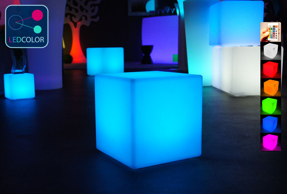 cube lumineux multicolore sans fil cube led 30 cm 60. Black Bedroom Furniture Sets. Home Design Ideas