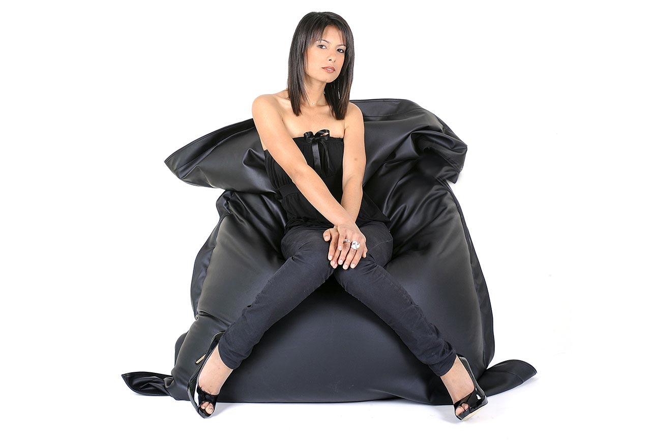 pouf g ant big52 cuir simili cuir noir mat prix usine. Black Bedroom Furniture Sets. Home Design Ideas