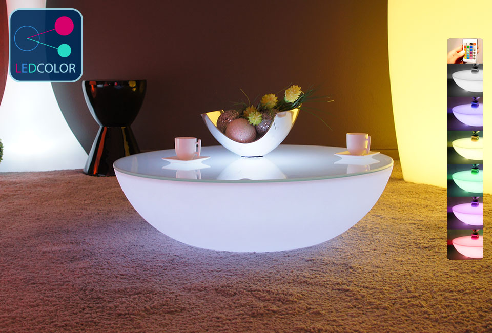 table basse lumineuse led multicolore sans fil moon. Black Bedroom Furniture Sets. Home Design Ideas