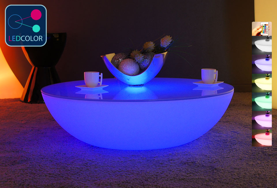 Table basse lumineuse led multicolore moon light - Fabriquer une table lumineuse led ...