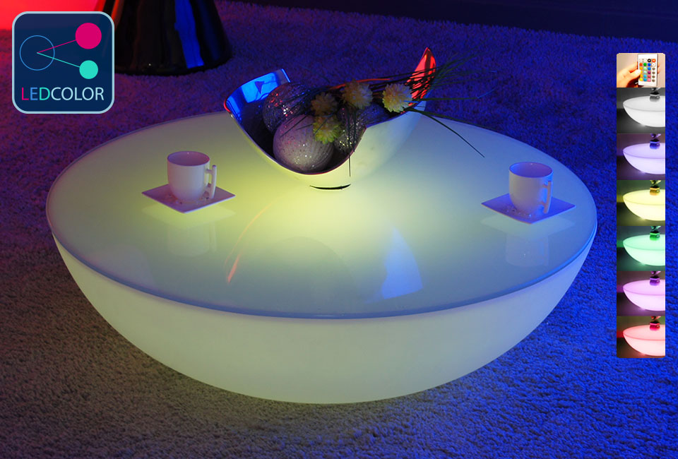 Table basse lumineuse led multicolore sans fil moon for Table lumineuse