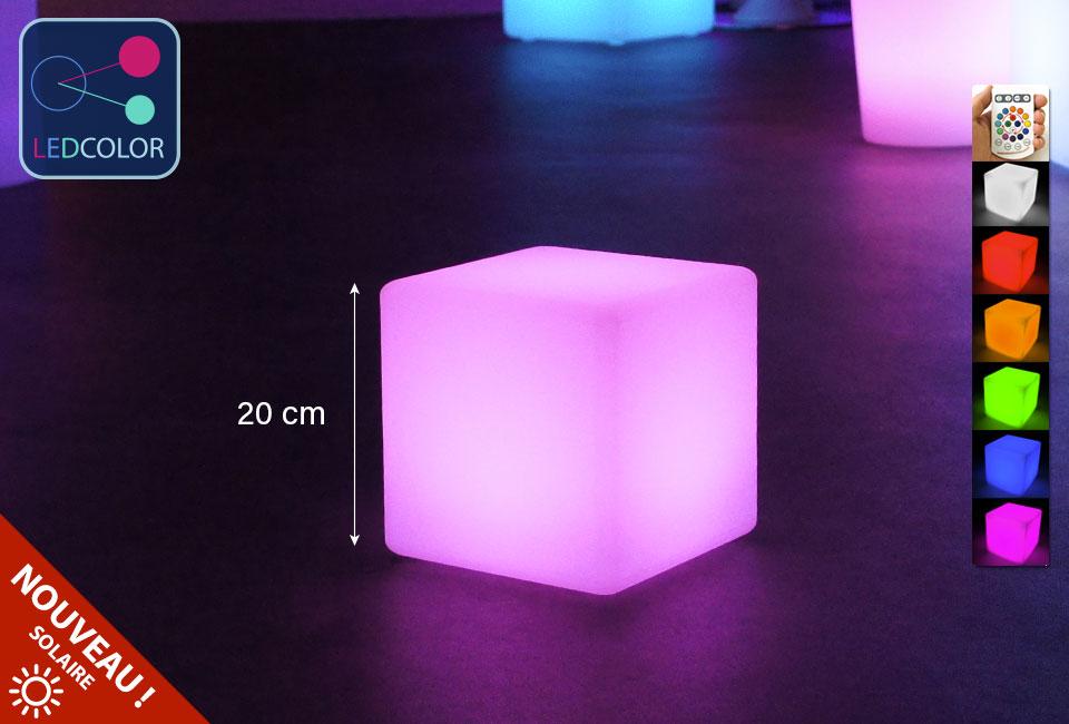Cube Lumineux à LED Multicolore - 20 Cm ...