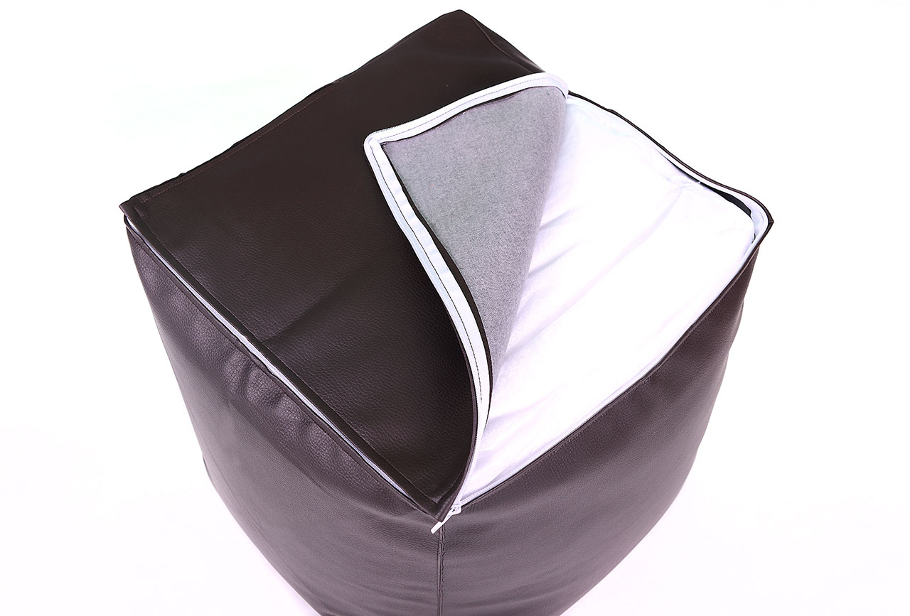 pouf cube big52 simili cuir chocolat. Black Bedroom Furniture Sets. Home Design Ideas