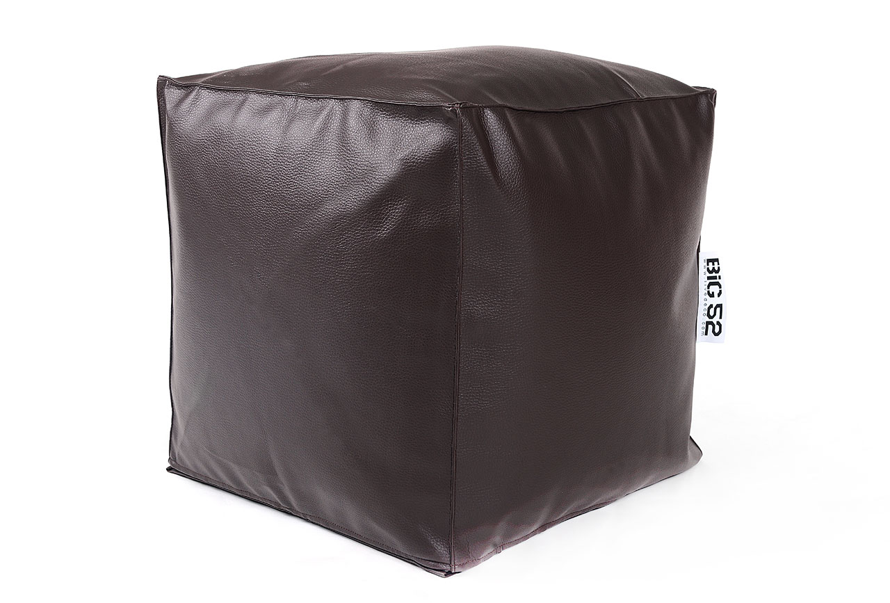 Pouf cube big52 simili cuir chocolat - Pouf cuir marron chocolat ...