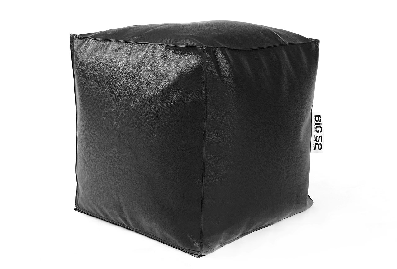 pouf cube cuir noir 75 pouf carr livraison express. Black Bedroom Furniture Sets. Home Design Ideas