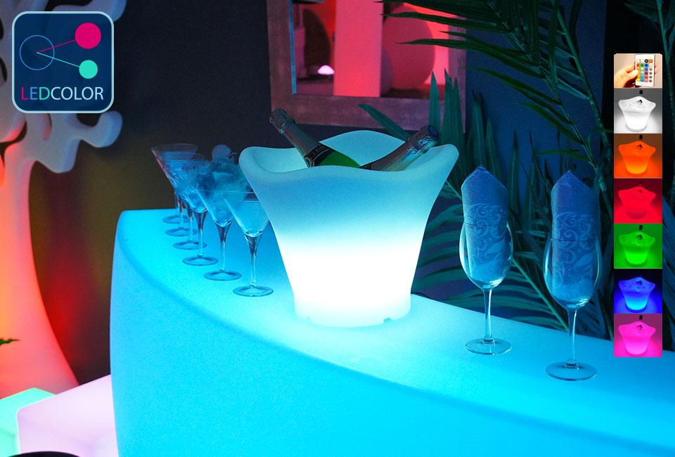 Seau champagne lumineux led multicolore - Seau champagne lumineux ...