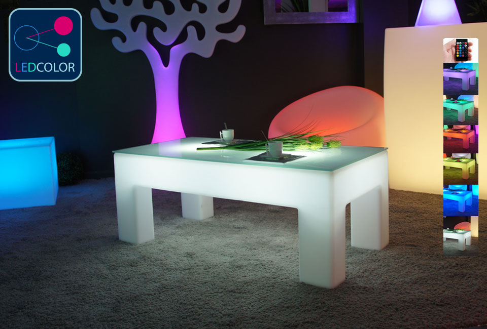 table basse lumineuse led multicolore sans fil classico. Black Bedroom Furniture Sets. Home Design Ideas