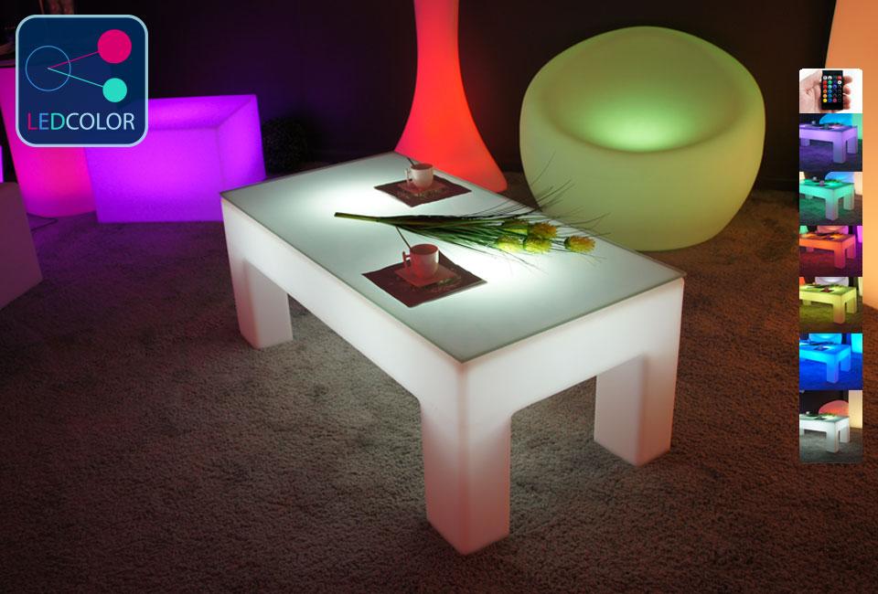 table basse lumineuse led multicolore sans fil classico. Black Bedroom Furniture Sets. Home Design Ideas