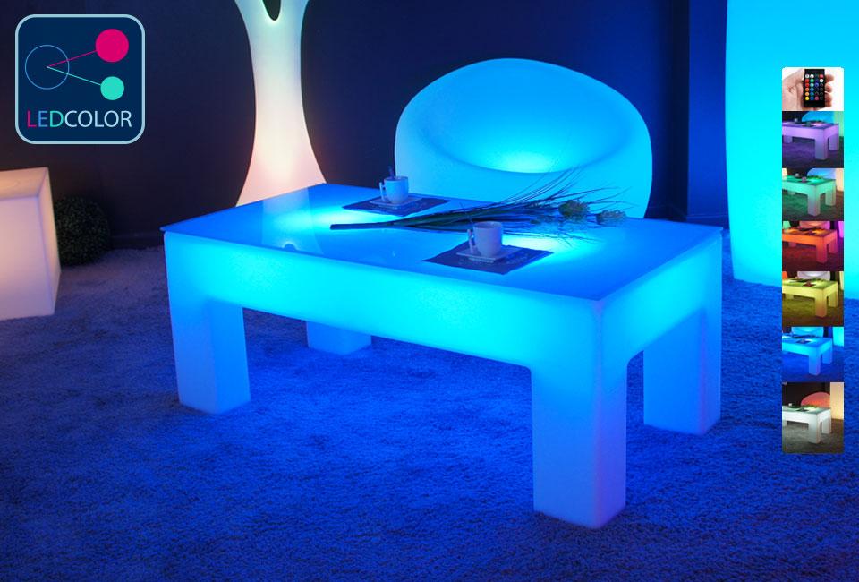 Table basse lumineuse led multicolore sans fil classico - Table basse multicolore ...