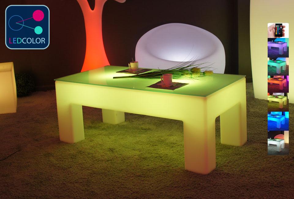 Table basse lumineuse led multicolore sans fil classico for Table lumineuse