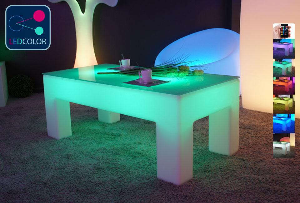 "table basse lumineuse led multicolore sans fil ""classico"""