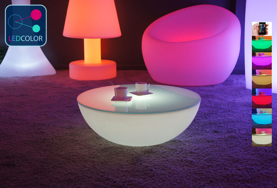 table basse lumineuse led multicolore sans fil moon s. Black Bedroom Furniture Sets. Home Design Ideas