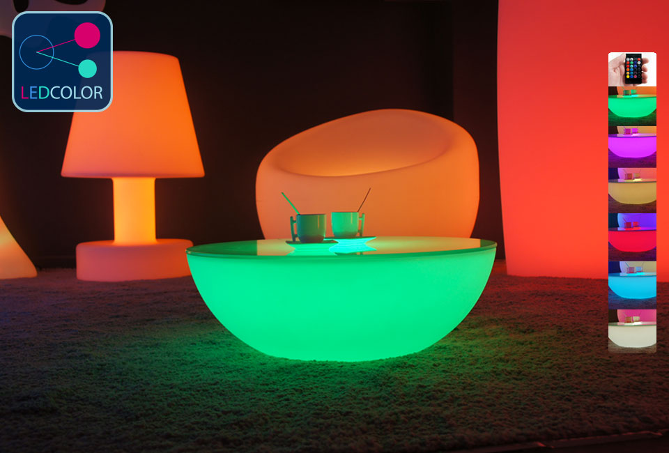 table basse lumineuse led multicolore sans fil moon s. Black Bedroom Furniture Sets. Home Design Ideas