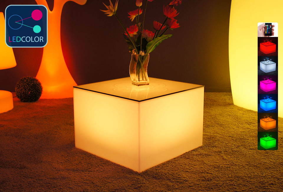 Table basse lumineuse led multicolore sans fil nelio - Table basse multicolore ...